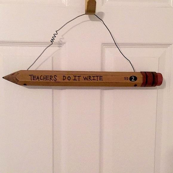 Wooden Pencil Teacher Hanging Decoration
